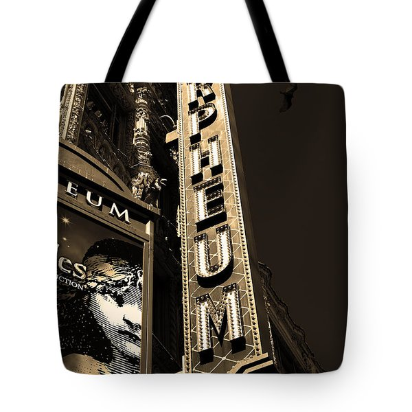Nightfall at The Orpheum - San Francisco California - 5D17991 - Sepia Tote Bag by Wingsdomain Art and Photography