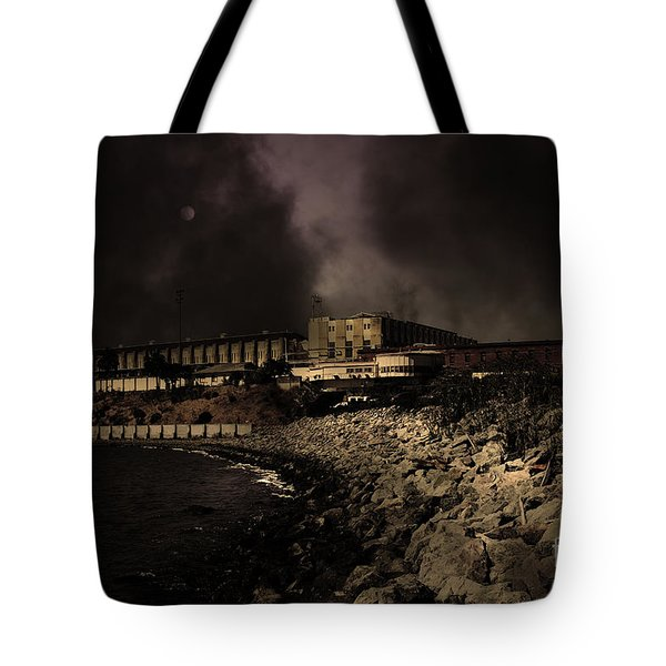 Nightfall Over Hard Time - San Quentin California State Prison - 5D18454 - Partial Sepia Tote Bag by Wingsdomain Art and Photography