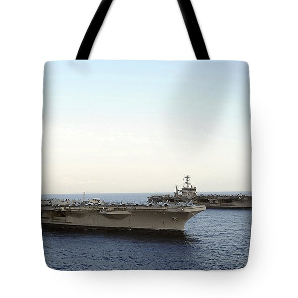 Nimitz-class Aircraft Carriers Transit Tote Bag by Stocktrek Images