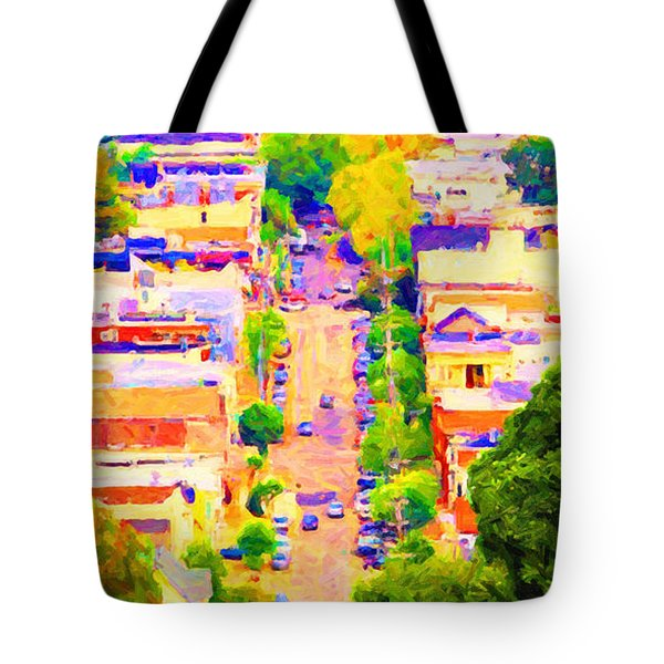 Noe Street In San Francsico 2 . Long Cut Tote Bag by Wingsdomain Art and Photography