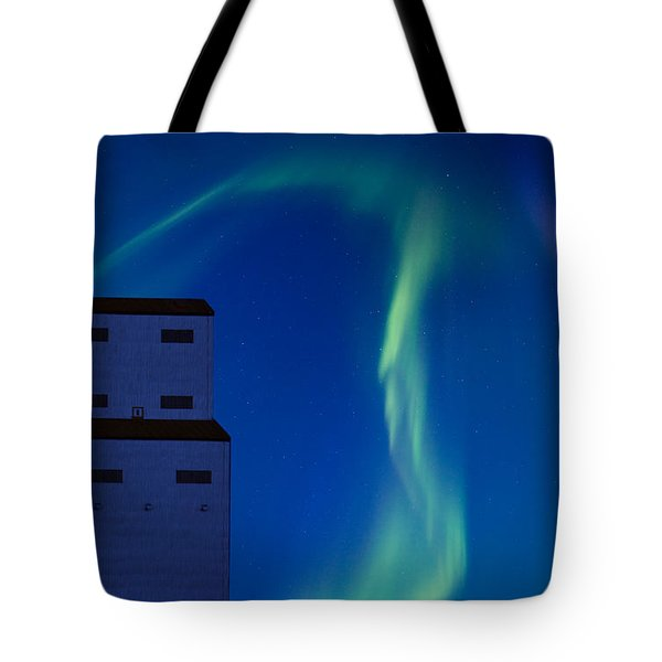 Northern Lights And Grain Elevator Tote Bag by Mark Duffy
