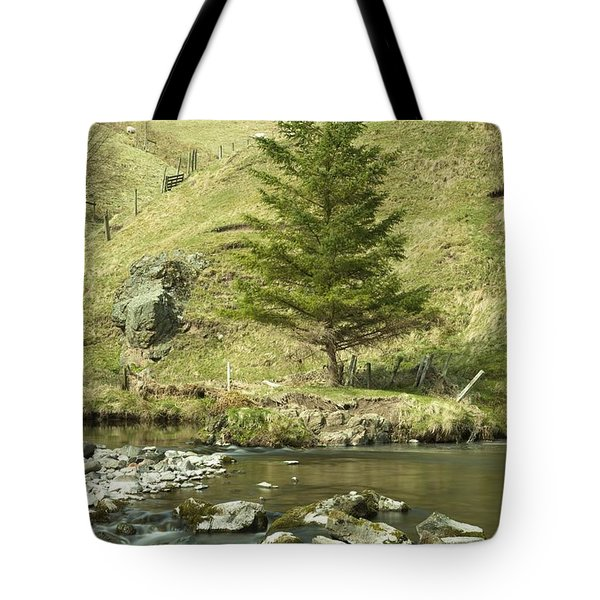 Northumberland, England A River Flowing Tote Bag by John Short