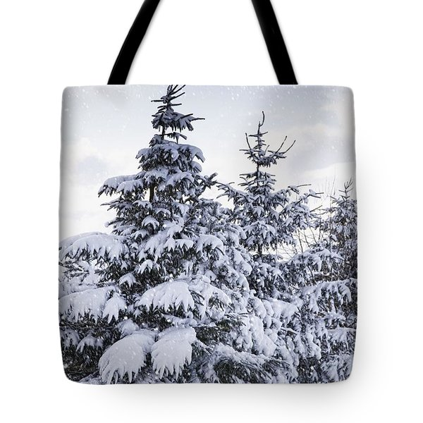 Northumberland, England Snow-covered Tote Bag by John Short