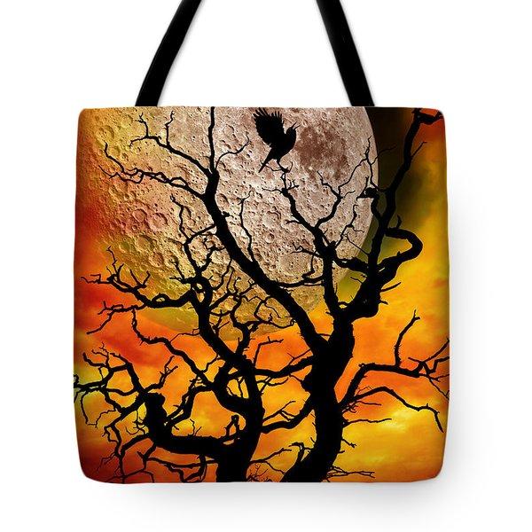 Nuclear Moonrise Tote Bag by Meirion Matthias