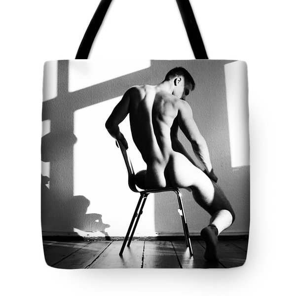 Nude Man On Chair Tote Bag by Sumit Mehndiratta
