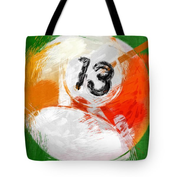 Number Thirteen Billiards Ball Abstract Tote Bag by David G Paul