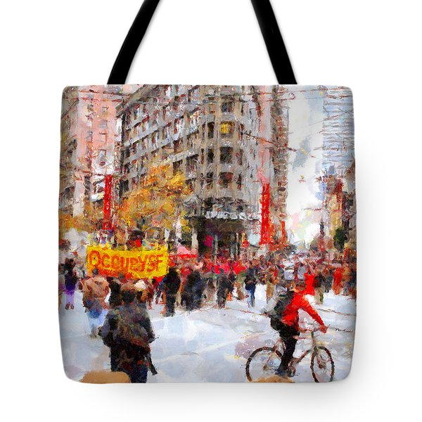 Occupy Sf Market Street . 7d9733 Tote Bag by Wingsdomain Art and Photography