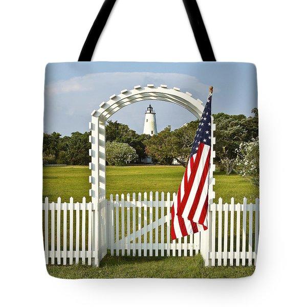 Ocracoke Lighthouse July 4th Tote Bag by Bill Swindaman