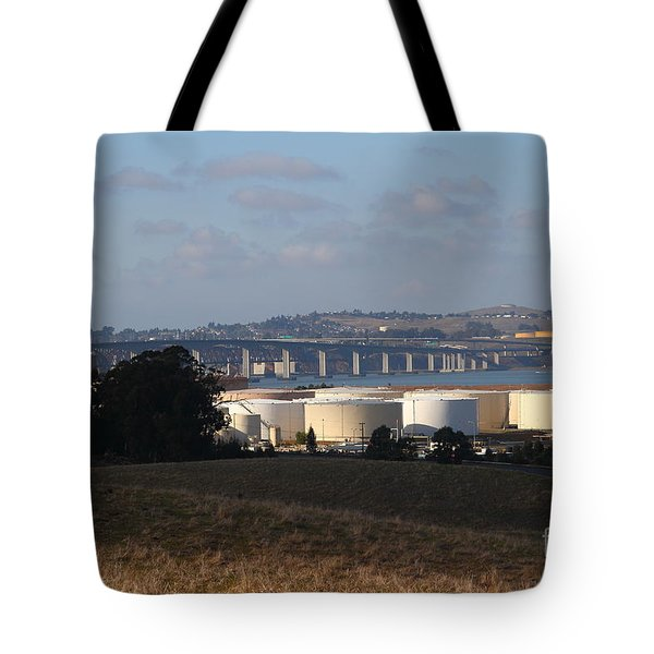 Oil Refinery Industrial Plant And Martinez Benicia Bridge In Martinez California . 7d10388 Tote Bag by Wingsdomain Art and Photography