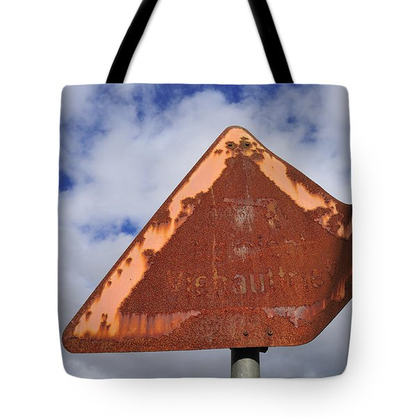 Old And Rusty Traffic Sign Tote Bag by Matthias Hauser