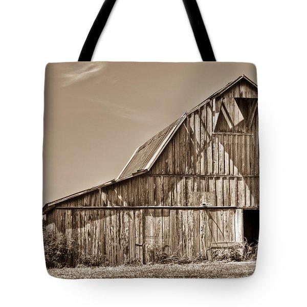 Old Barn In Sepia Tote Bag by Douglas Barnett