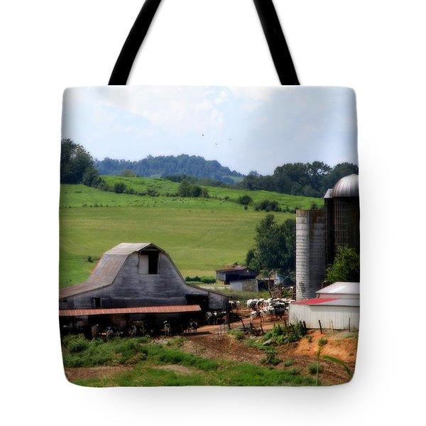 Old Dairy Barn Tote Bag by KAREN WILES