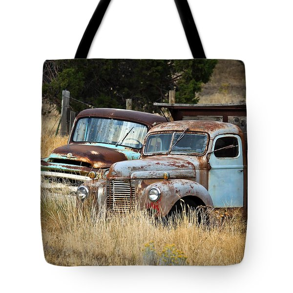 Old Farm Trucks Tote Bag by Steve McKinzie