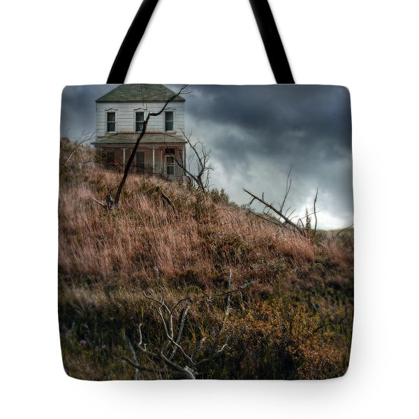 Old Farmhouse With Stormy Sky Tote Bag by Jill Battaglia