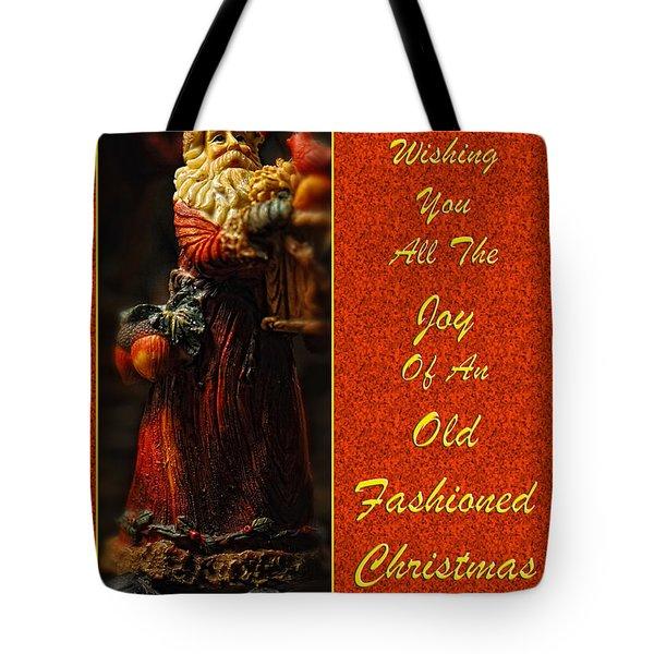 Old Fashioned Santa Christmas Card Tote Bag by Lois Bryan