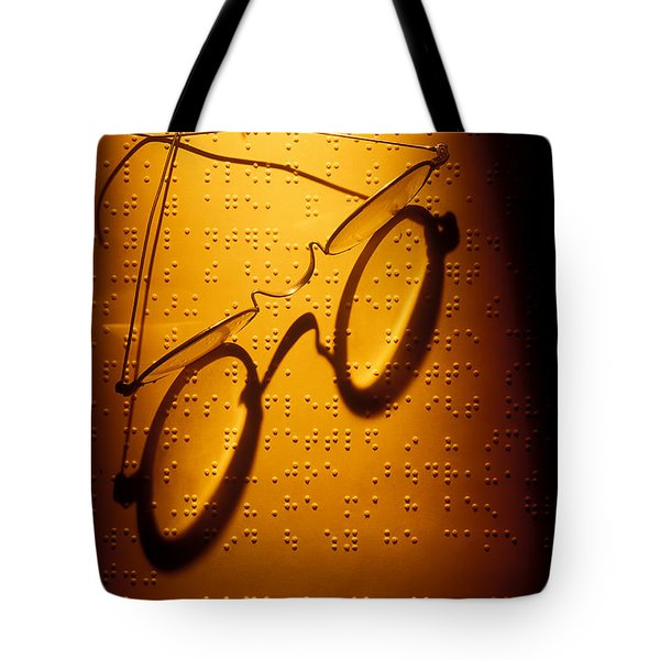 Old Glasses On Braille  Tote Bag by Garry Gay