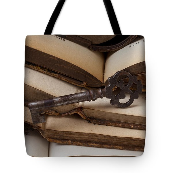 Old Key On Books Tote Bag by Garry Gay