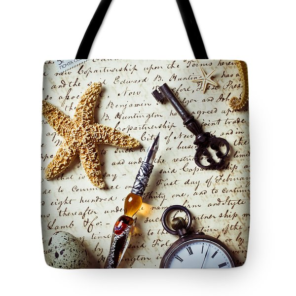 Old letter with pen and starfish Tote Bag by Garry Gay