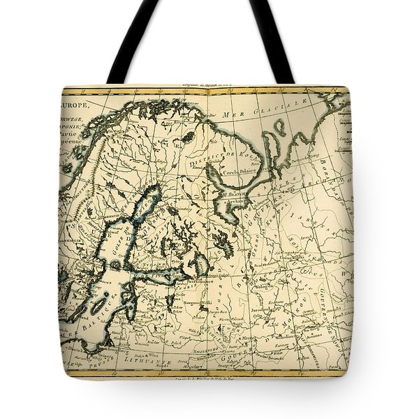 Old Map Of Northern Europe Tote Bag by Guillaume Raynal