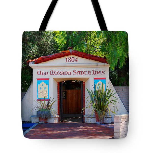 Old Mission Santa Ines Solvang California Tote Bag by Susanne Van Hulst