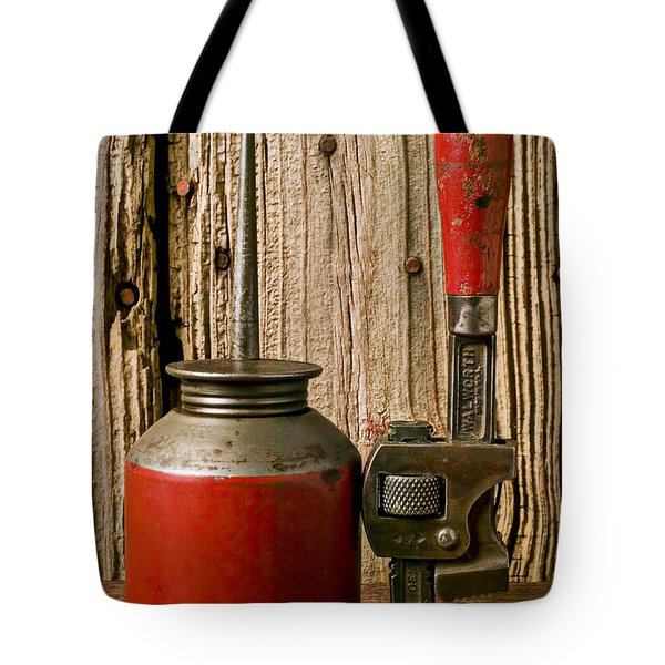 Old Oil Can And Wrench Tote Bag by Garry Gay