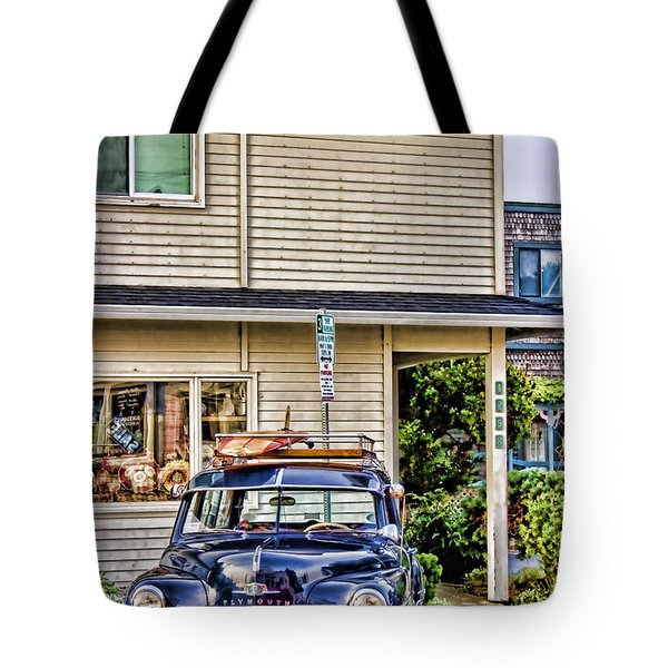Old Plymouth And Surfboard Tote Bag by Carol Leigh