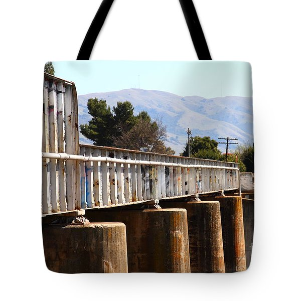 Old Railroad Bridge In Fremont California Near Historic Niles District In California . 7d12669 Tote Bag by Wingsdomain Art and Photography
