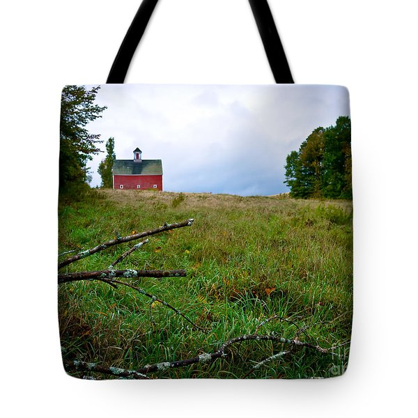 Old Red Barn On The Hill Tote Bag by Edward Fielding