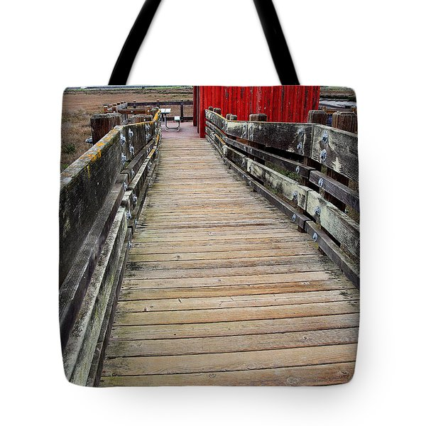 Old Red Shack At The End of The Walkway Tote Bag by Wingsdomain Art and Photography