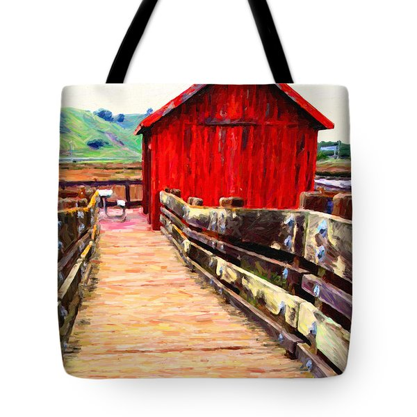 Old Red Shack Tote Bag by Wingsdomain Art and Photography