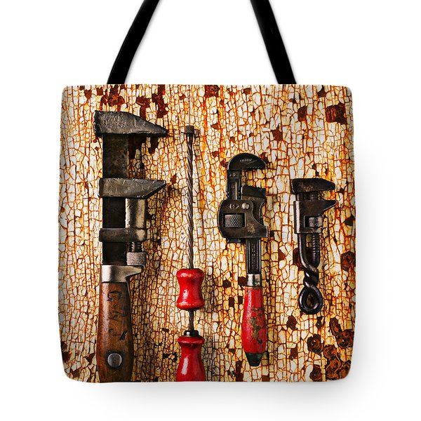 Old Tools On Rusty Counter  Tote Bag by Garry Gay