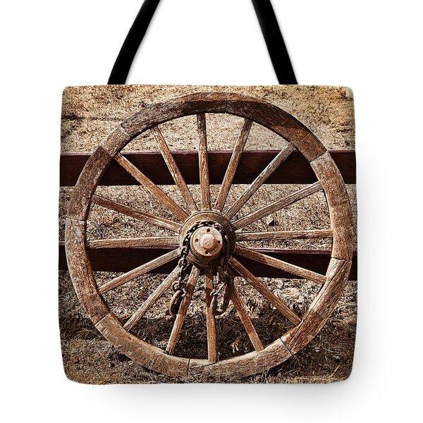 Old West Wheel Tote Bag by Kelley King