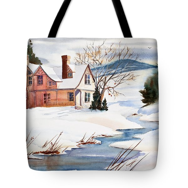 On A Winters Day Watercolor Painting Tote Bag by Michelle Wiarda