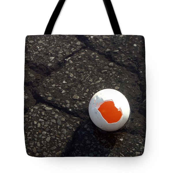 Open Broken Egg - View From Above Tote Bag by Matthias Hauser