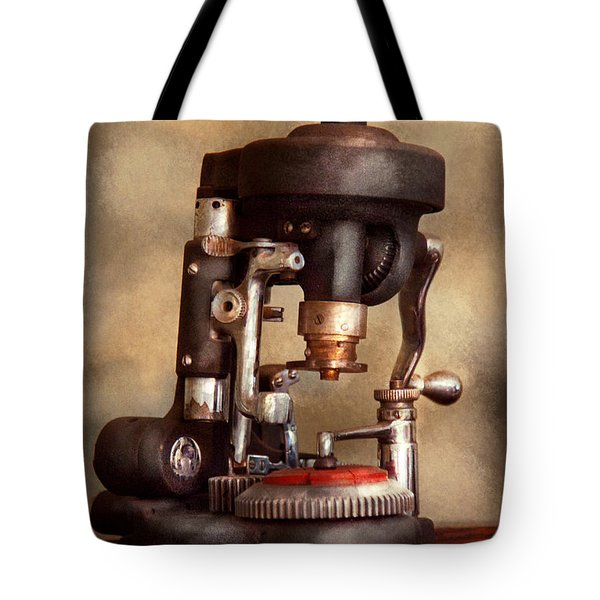Optometry - Lens Cutting Machine Tote Bag by Mike Savad