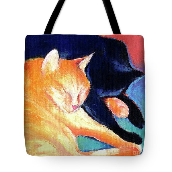 Orange And Black Tabby Cats Sleeping Tote Bag by Svetlana Novikova
