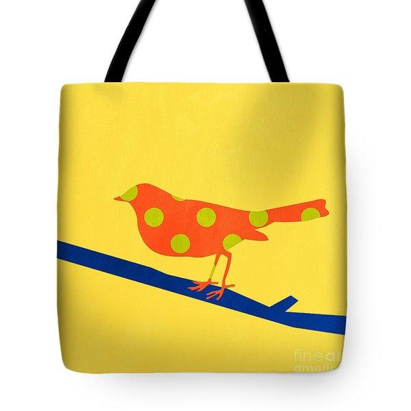 Orange Bird Tote Bag by Linda Woods
