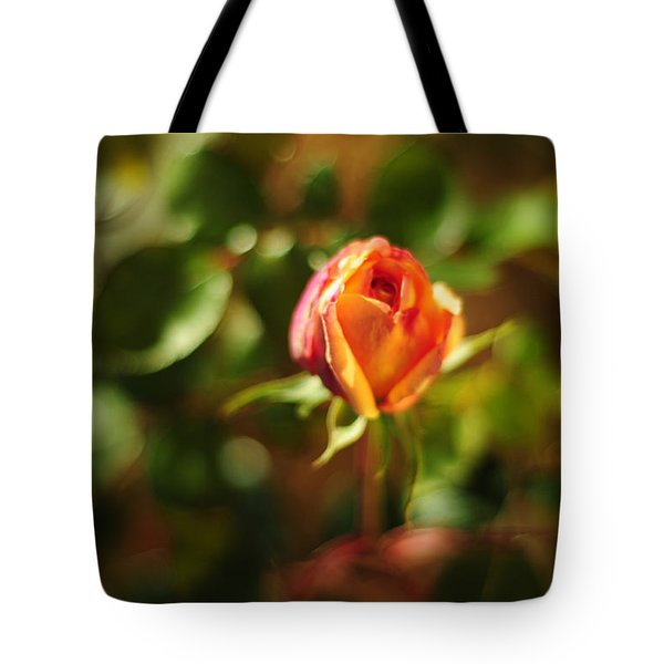 Orange Rosebud Tote Bag by Rebecca Sherman