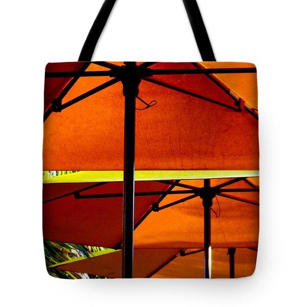 Orange Sliced Umbrellas Tote Bag by KAREN WILES