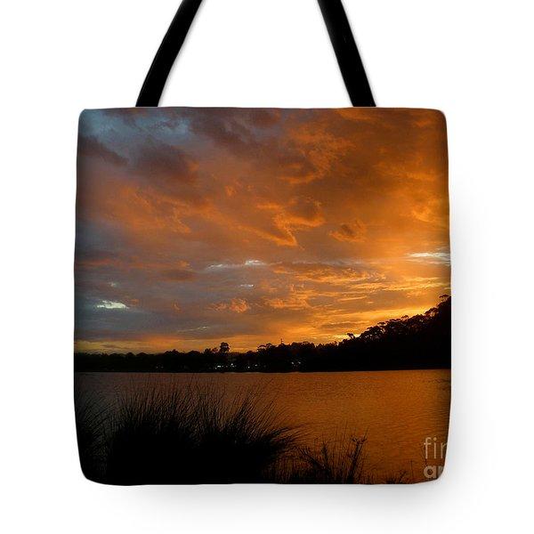 Orange Sunset Glow Tote Bag by Kaye Menner