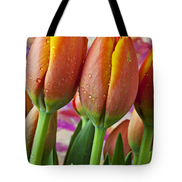 Orange Yellow Tulips Tote Bag by Garry Gay