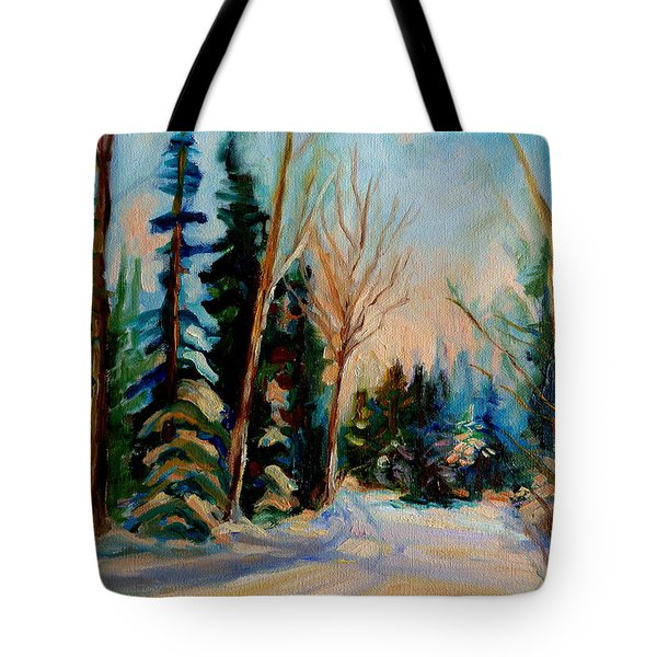 ORMSTOWN QUEBEC WINTER ROAD Tote Bag by CAROLE SPANDAU