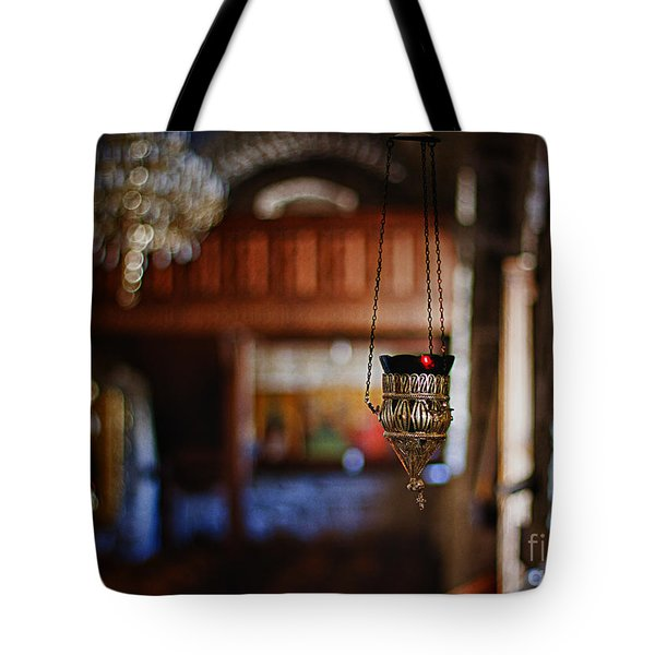 orthodox church oil candle Tote Bag by Stylianos Kleanthous