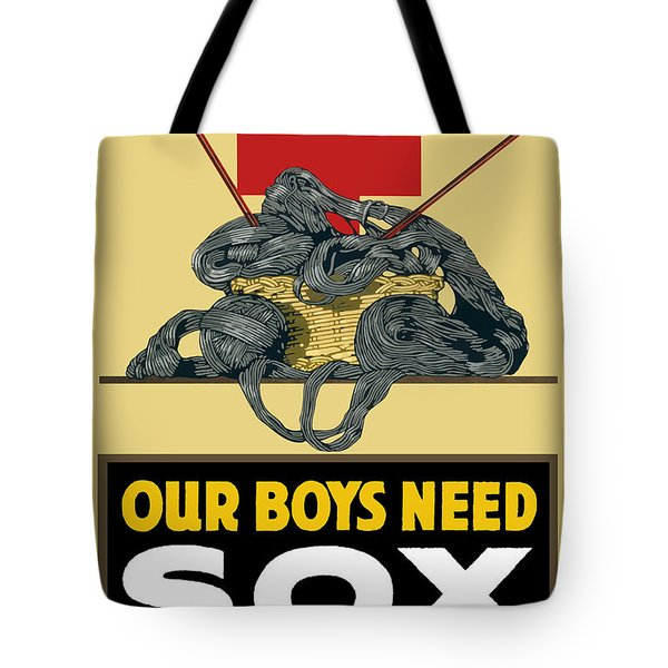 Our Boys Need Sox Knit Your Bit Tote Bag by War Is Hell Store