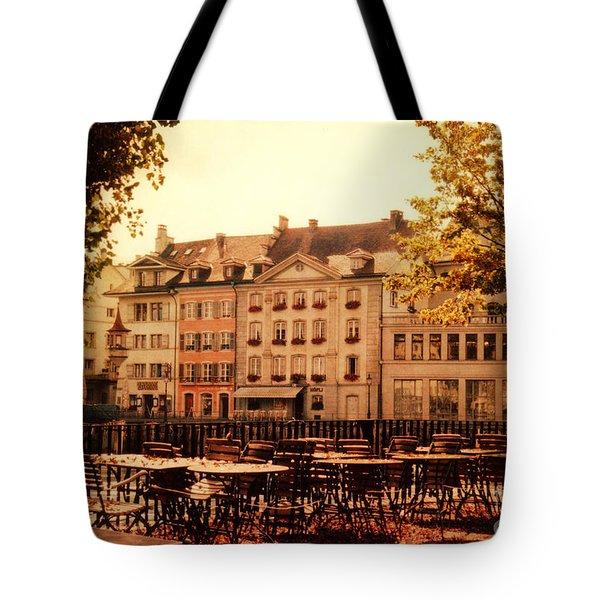 Outdoor Cafe in Lucerne Switzerland  Tote Bag by Susanne Van Hulst