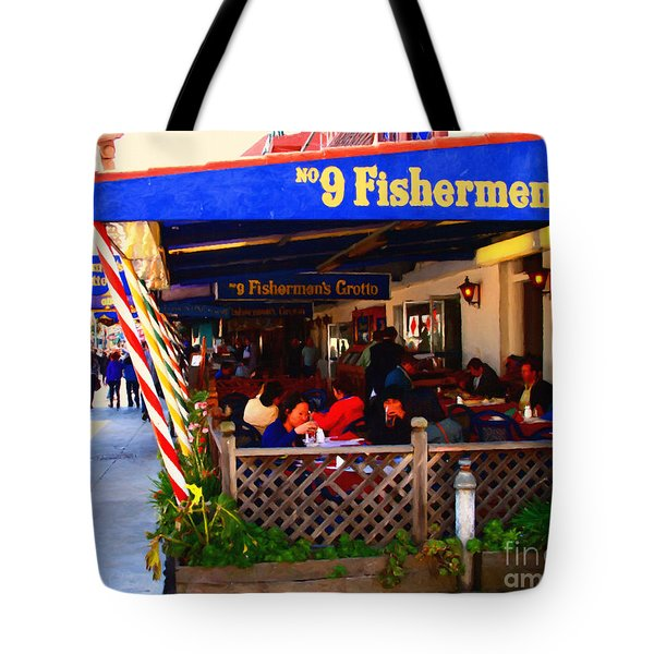 Outdoor Dining At The Fishermens Grotto Restaurant . Fisherman.s Wharf . San Francisco California Tote Bag by Wingsdomain Art and Photography