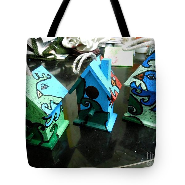 Painted Birdhouses Tote Bag by Genevieve Esson