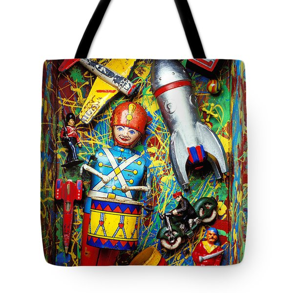 Painted box full of old toys Tote Bag by Garry Gay