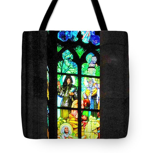 Painted Glass - Alfons Mucha  - St. Vitus Cathedral Prague Tote Bag by Christine Till