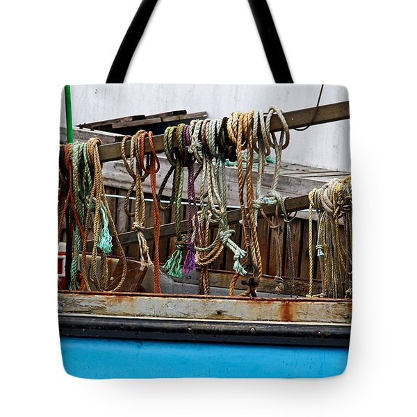 Painted Rope Coils Tote Bag by Brenda Giasson